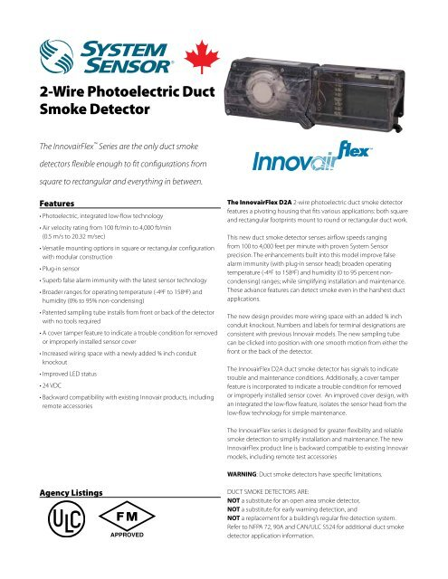 2 wire photoelectric duct smoke detector system sensor canada rh yumpu com