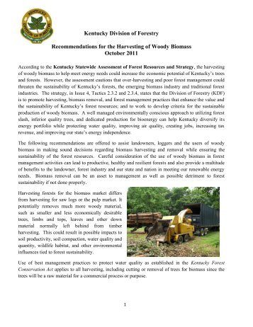Recommendations for the Harvesting of Woody Biomass - Kentucky ...