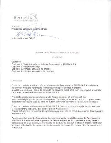 Codul de conduita si etica in afaceri - Farmaceutica REMEDIA S.A.