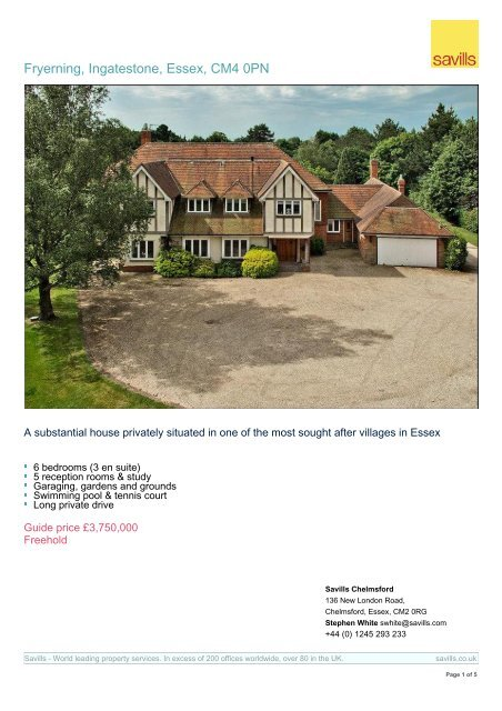 Print property summary - Savills UK | Farms and estates for sale