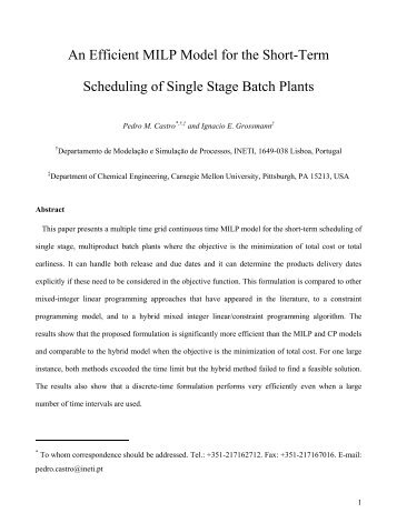 An Efficient MILP Model for the Short-Term Scheduling of Single ...