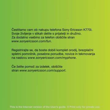 Čestitamo vam ob nakupu telefona Sony Ericsson K770i. Svoje ...