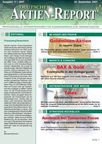 DAX & Gold Goldminen-Aktien Teles - Deutscher Aktien-Report