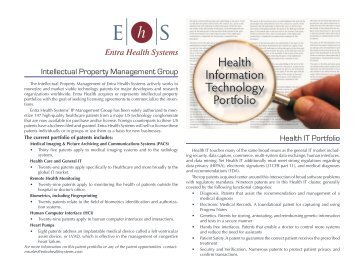 Health Information Technology Portfolio - Entra Health Systems