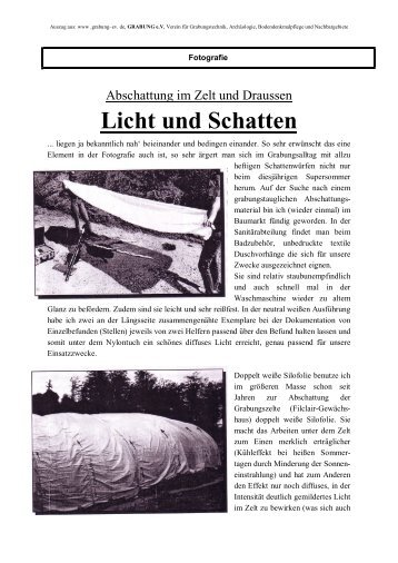 Abschattung Im Zelt Und Draussen Licht Und Schatten - Grabung e.V.