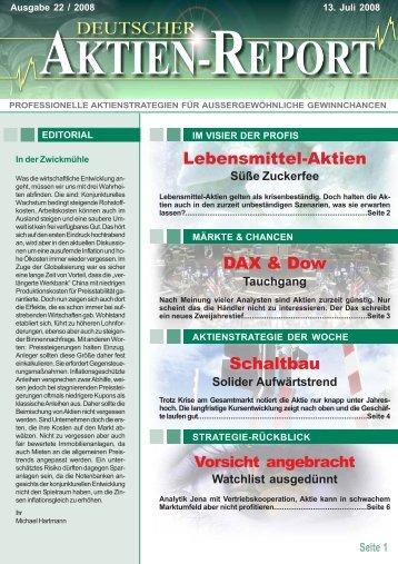 DAX & Dow Lebensmittel-Aktien Schaltbau - Deutscher Aktien-Report