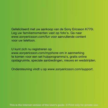 Gefeliciteerd met uw aankoop van de Sony Ericsson K770i. Leg uw ...
