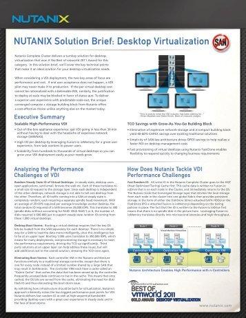 NUTANIX Solution Brief: Desktop Virtualization