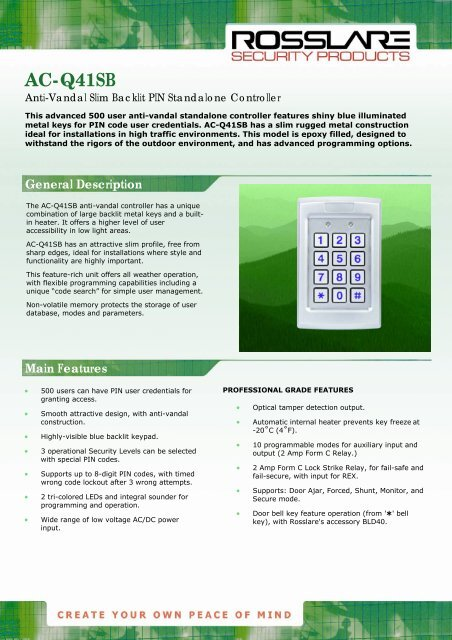 Rosslare AC-Q41SB pdf - Jacksons Security
