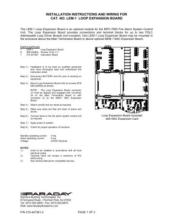 installation instructions and wiring for p n 8710 addressable faraday rh yumpu com faraday ring magnet leland faraday wiring diagram