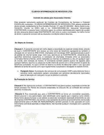 CLUBVOX INTERMEDIAÇÃO DE NEGÓCIOS LTDA Contrato de ...