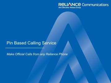 Pin Based Calling Service - Customer Network Management