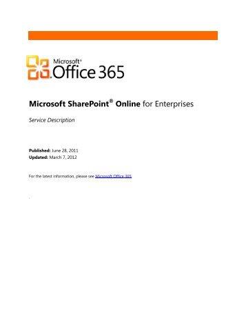 Microsoft SharePoint® Online for Enterprises - Microsoft Cloud ...