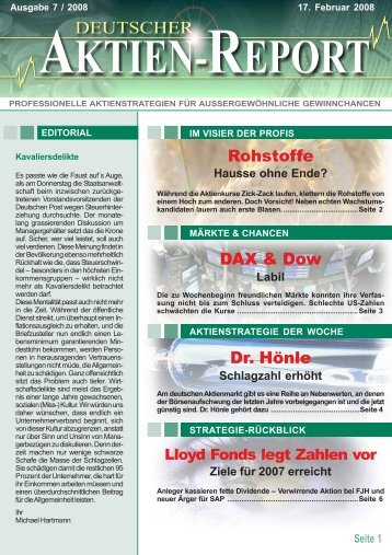 DAX & Dow Rohstoffe Dr. Hönle - Deutscher Aktien-Report