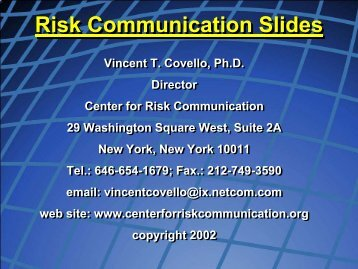 Risk Communication Slides - Northwest Center for Public Health ...