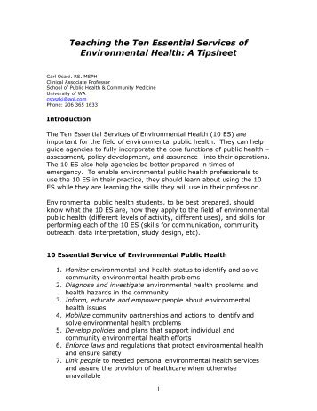 Teaching the Ten Essential Services of Environmental Health: A ...
