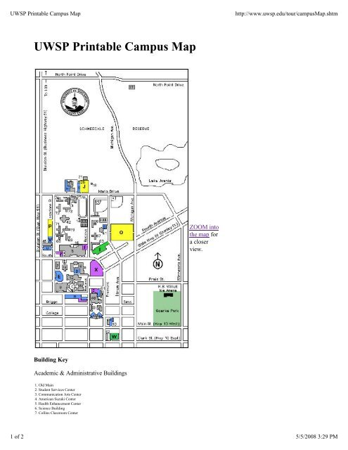 Uwsp Printable Campus Map