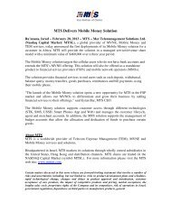 MTS Delivers Mobile Money Solution - MVNOs Industry Summit USA