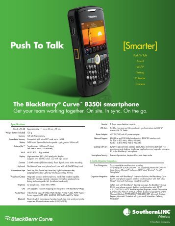 BlackBerry Curve 8350i Specifications - SouthernLINC Wireless