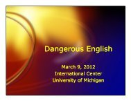 Dangerous English - International Center - University of Michigan