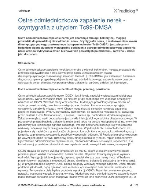Ostre odmiedniczkowe zapalenie nerek - scyntygrafia ... - Radiolog.pl