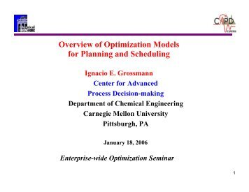 Overview of Optimization Models for Planning and Scheduling