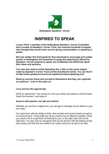 INSPIRED TO SPEAK - Speakers Corner Trust
