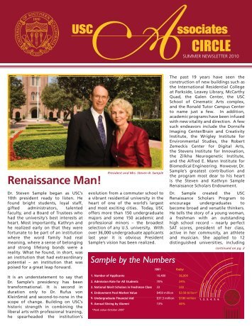 2010 Summer Newsletter - Giving to USC