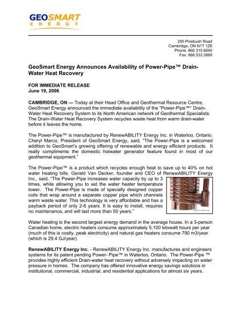 GeoSmart Energy Announces Availability of Power-Pipe™ Drain ...