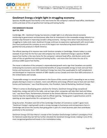 GeoSmart Energy a bright light in struggling economy