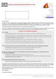 CA CANCELLATION BEFORE DEPARTURE OF A TRIP - Holidaysafe