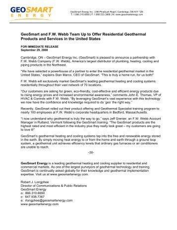 GeoSmart Energy enters the U.S Residential Market with F.W. Webb