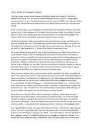TRAVEL REPORT (OF EXCHANGE STUDENTS) I felt that I ... - Arcada