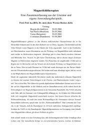 Magnetfeldtherapien - Prof. Prof. hc Dr. med. dent. Werner Becker
