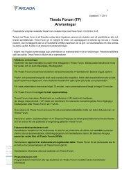 Anvisningar för Thesis Forum - Studieguiden - Arcada