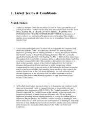 1. Ticket Terms & Conditions Match Tickets - Reading FC