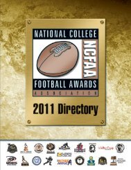 2011 NCFAA Directory - National College Football Awards Association