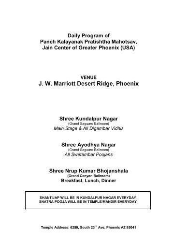Daily Program of Panch Kalayanak Pratishtha Mahotsav ... - Jcgp.org