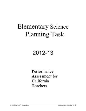 elementary science planning task rubrics 2012-2013 - Graduate ...