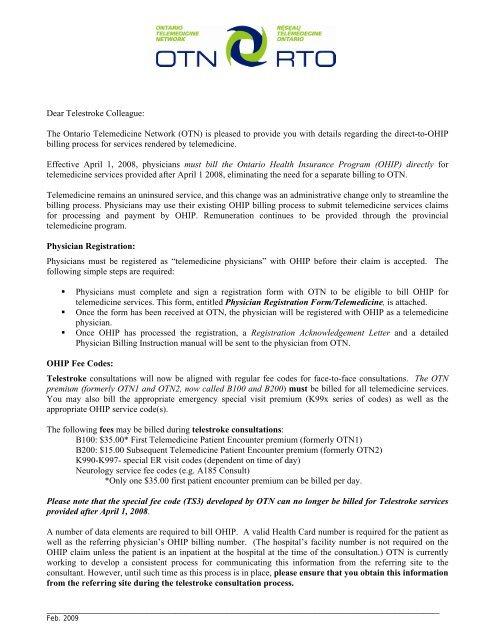 TM Billing Info Letter - Ontario Telemedicine Network