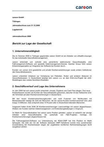 Bericht zur Lage der Gesellschaft - careon: GESUNDHEITSAKTE.DE