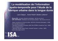 La modélisation de l'information spatio-temporelle pour l'étude de la ...
