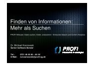 Finden von Informationen - PROFI Engineering Systems AG