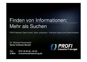 Finden von Informationen - PROFI Engineering Systems AG