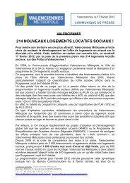 214 nouveaux logements locatifs sociaux - Valenciennes Métropole
