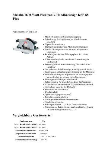 Metabo 1600-Watt-Elektronik-Handkreissäge KSE 68 Plus ... - Bemax