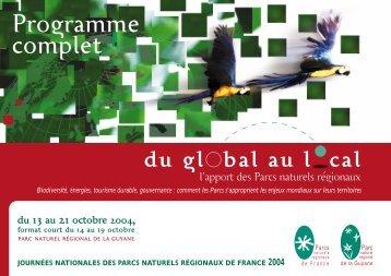 Programme complet - Fédération des Parcs Naturels Régionaux