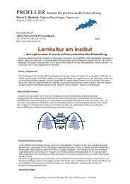 Lernkultur am Institut - Horst Bertsch