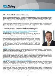 IBM-Partner Profi mit neuer Struktur - PROFI Engineering Systems AG