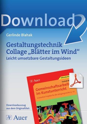 """Gestaltungstechnik Collage """"Blätter im Wind"""""""